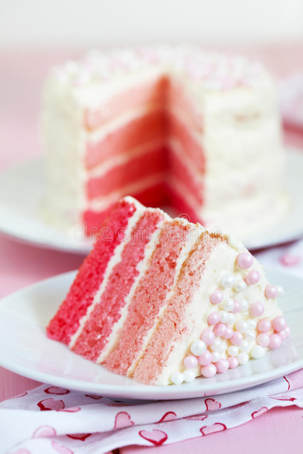 Pink Ombre Cake. For holiday royalty free stock photos