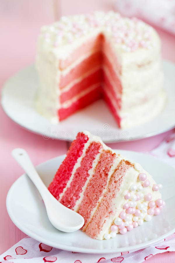 Pink Ombre Cake. For holiday royalty free stock images