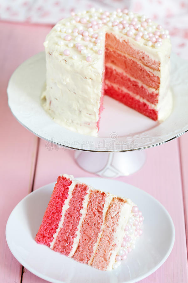 Pink Ombre Cake. For holiday stock photos