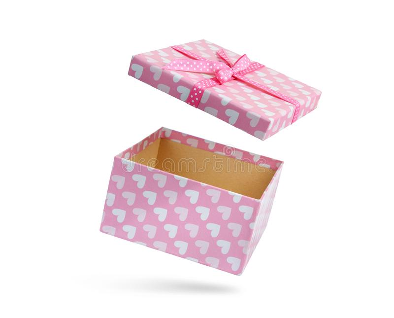 Pink open gift box, isolated on white background. File contains a path to isolation. royalty free stock photography