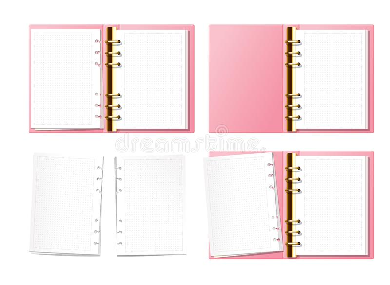 Pink open notebook mock up, bullet journal, planner, diary with gold furniture top view. Paper with dot texture. Opened. Ring book with clear blank pages stock illustration
