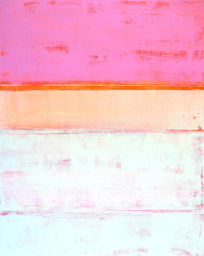 Pink and Orange Abstract Art Painting stock images