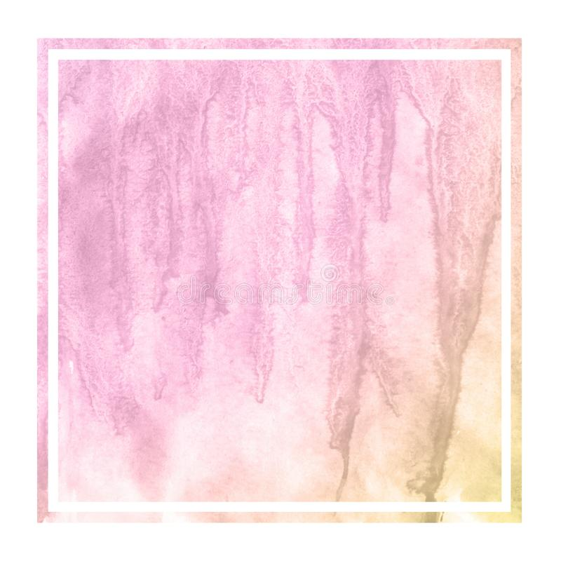 Pink and orange hand drawn watercolor rectangular frame background texture with stains. Modern design element royalty free stock images