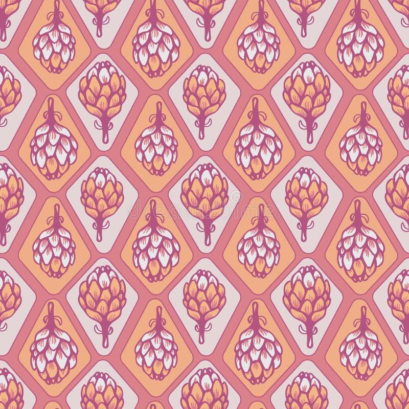 Pink Orange vector artichoke flower seamless pattern background stock illustration