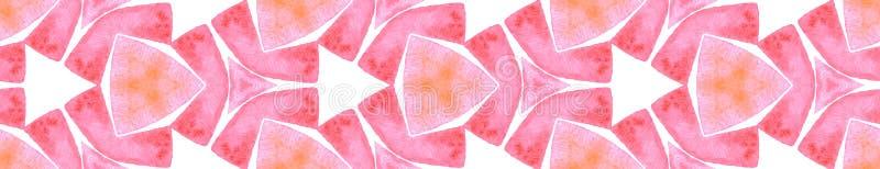 Pink orange vintage Seamless Border Scroll. Geomet. Ric Watercolor Frame. Creative Seamless Pattern. Medallion Repeated Tile. Nice Chevron Ribbon Ornament royalty free illustration