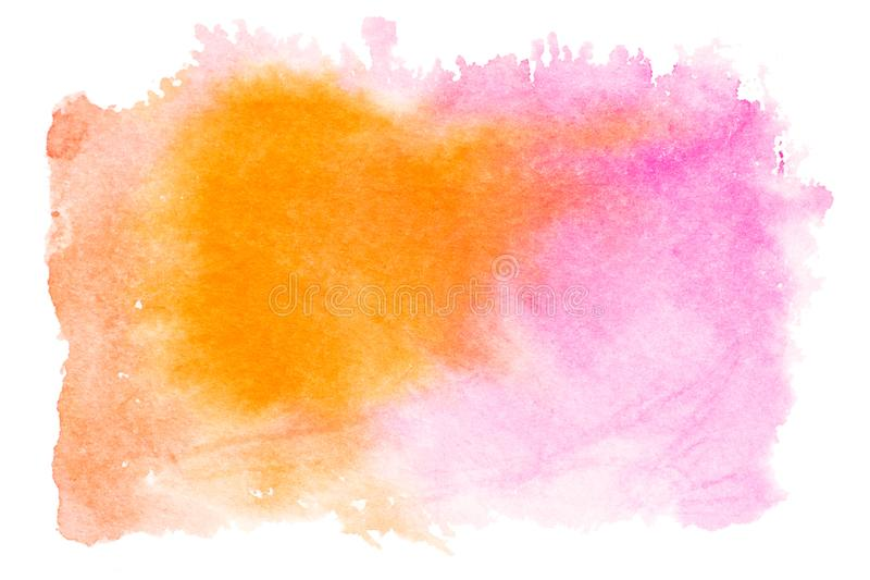 Pink orange watercolor splash isolated on white background. Hand drawn painting royalty free stock image