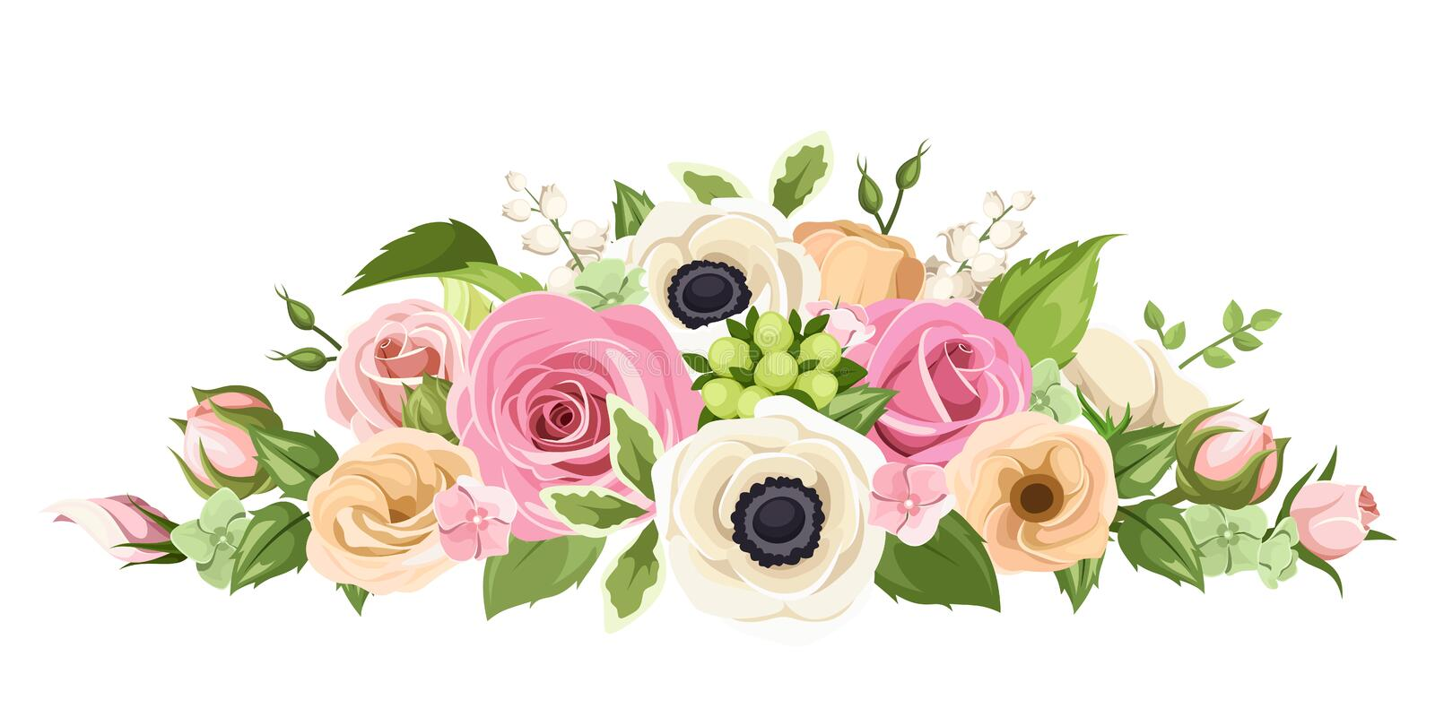 Pink, orange and white roses, lisianthuses, anemone flowers and green leaves. Vector illustration. royalty free illustration