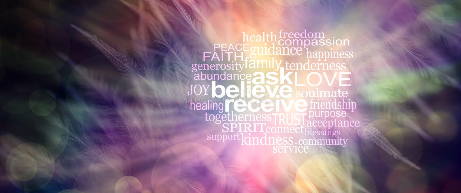 Ask believe receive word tag cloud. Pink, orange and yellow feather effect bokeh background with white words ASK BELIEVE RECEIVE surrounded by a relevant word royalty free stock image