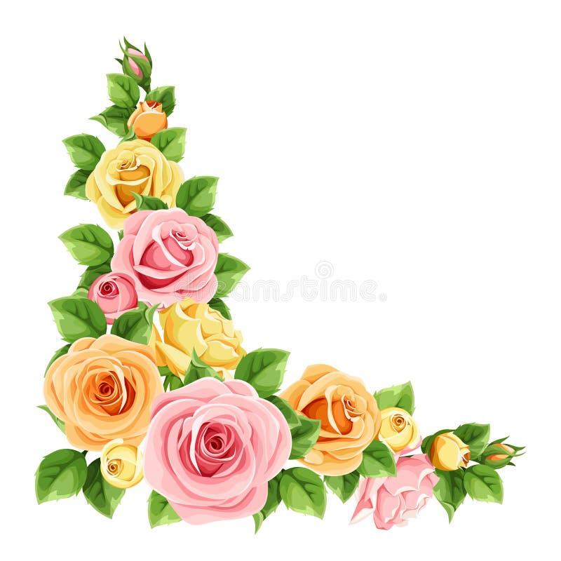 Pink, orange and yellow roses. Vector corner background. Vector corner background with pink, orange and yellow roses and green leaves stock illustration