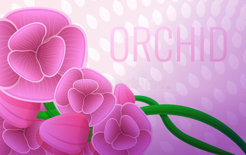 Pink orchid bouquet concept banner, cartoon style. Pink orchid bouquet concept banner. Cartoon illustration of pink orchid bouquet vector concept banner for web stock illustration