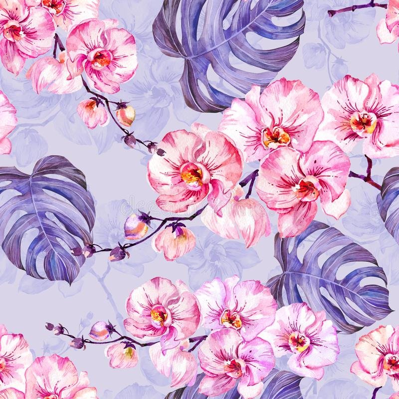 Pink orchid flowers with outlines and large monstera leaves on light lilac background. Seamless floral tropical pattern. vector illustration
