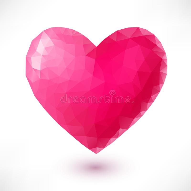 Pink origami heart. Isolated on white background with shadow. Low-poly style vector illustration for wallpaper, flyers, invitation, posters, brochure, banners vector illustration