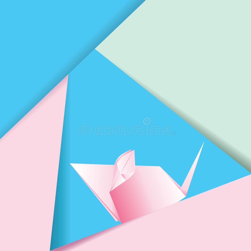 Pink origami mouse. Paper folded, origami pink mouse or rat design vector illustration