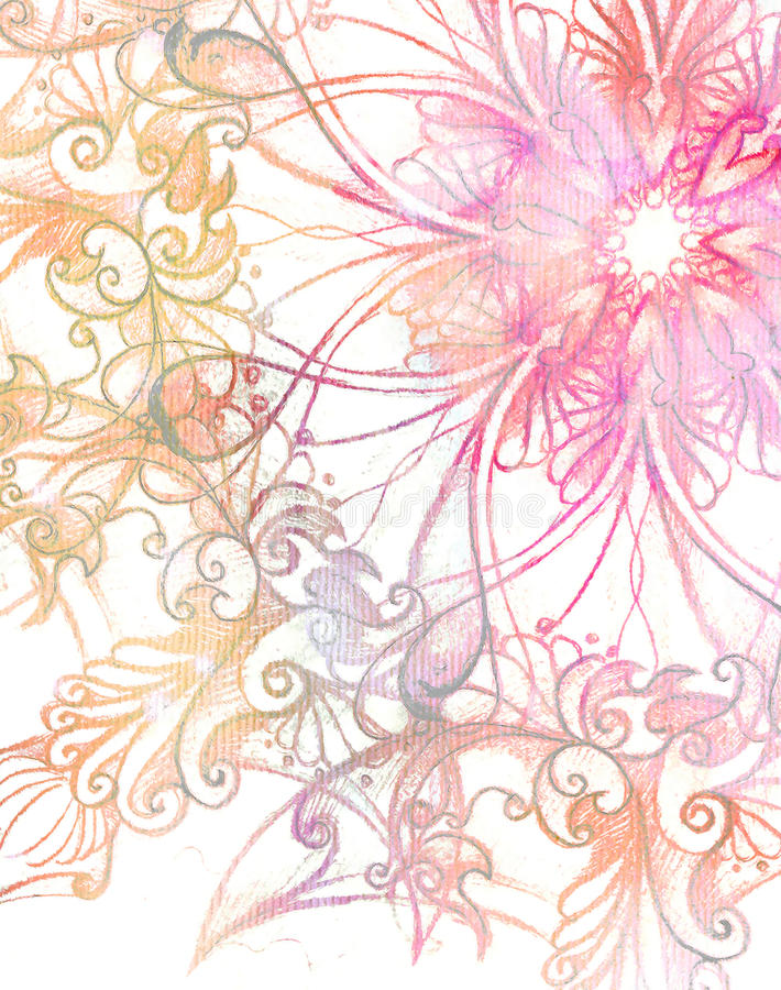 Pink ornament Mandala and fractal color effect. stock image