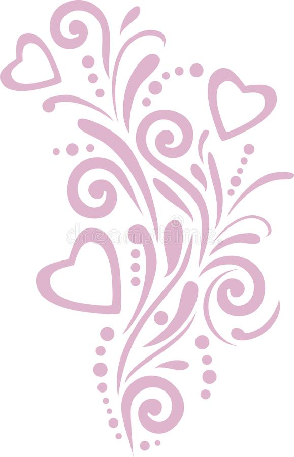 Pink ornamental element with hearts for design royalty free stock photography