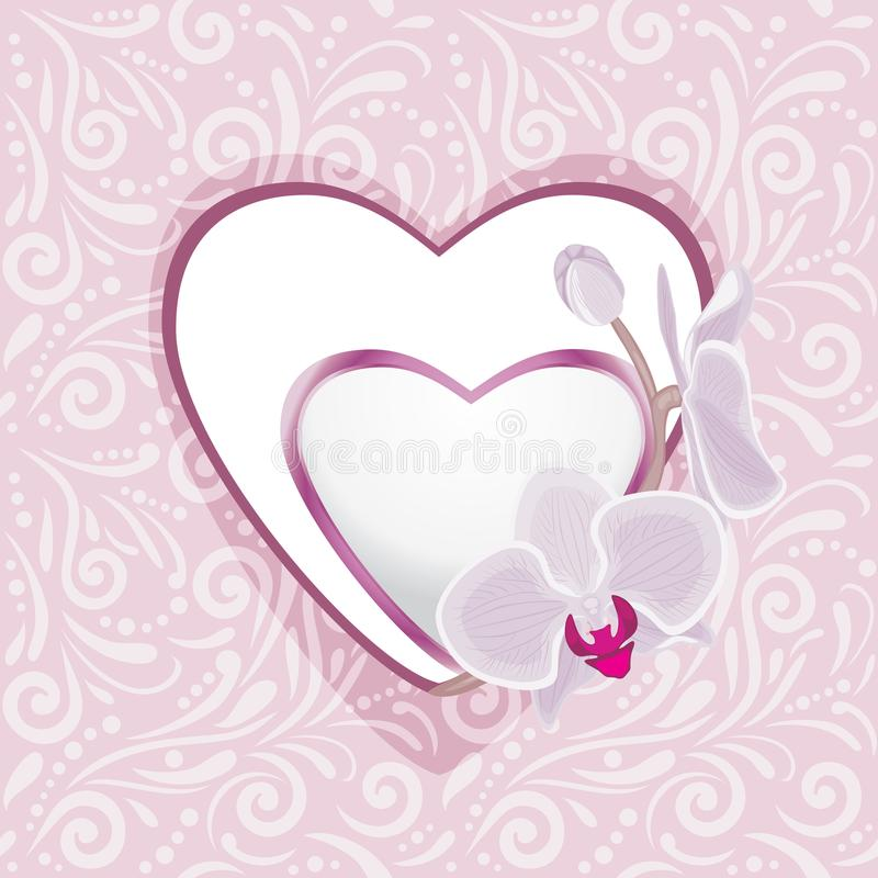 Pink ornamental pattern with hearts and orchids for scrapbook royalty free stock photos