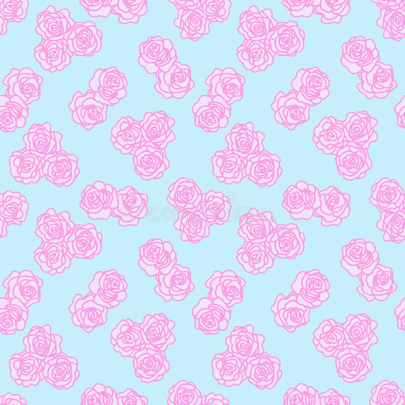 The pink outline of a flower on blue Seamless background. Vintage texture. Retro style. Decorative floral pattern. Design template. Pink outline of a flower on stock photography