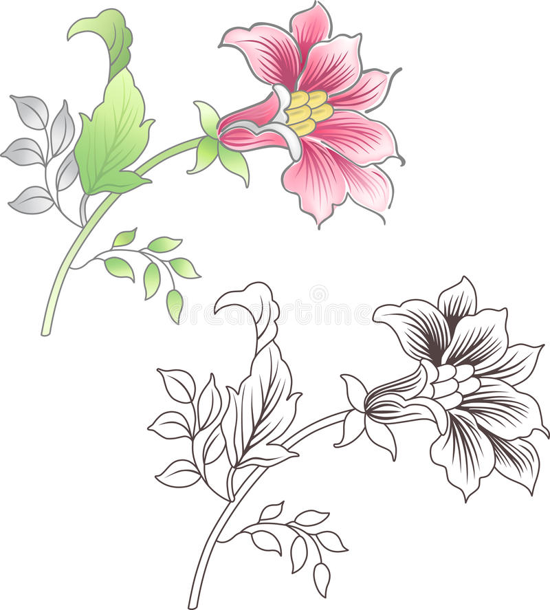 Download Pink And Outlined Flower, Floral Background Royalty Free Stock Photography - Image: 22232977