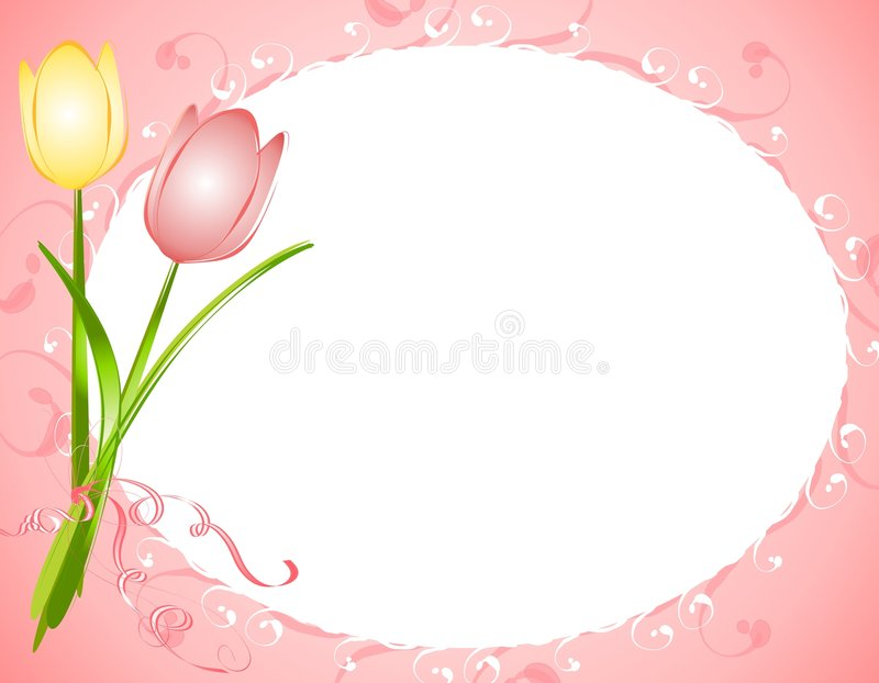 Pink Oval Tulips Flower Frame Border. A background illustration featuring a couple of spring tulips set against an oval shaped frame with soft pink colors and royalty free illustration