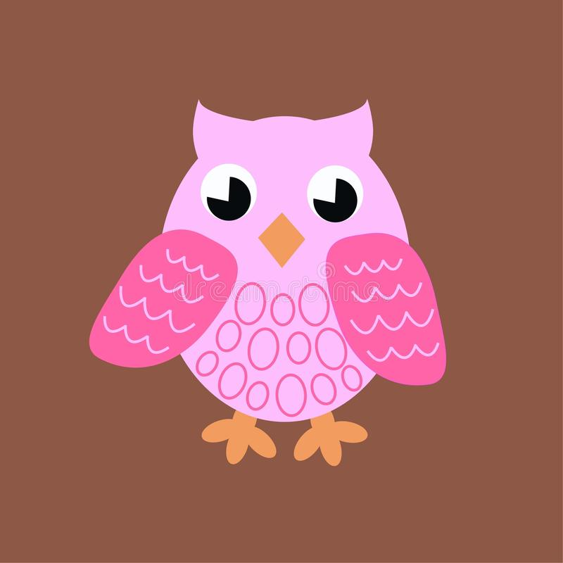 Pink owl stock illustration
