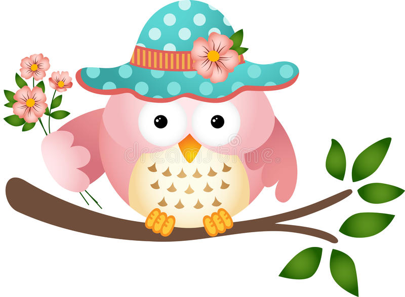 Pink Owl with Flowers stock vector. Illustration of clip ...