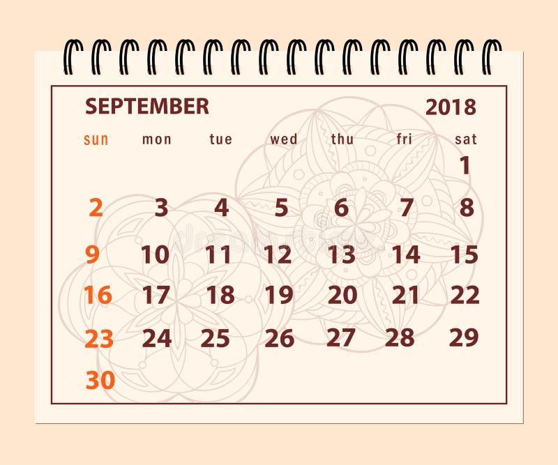 Pink page September 2018 on mandala background stock illustration