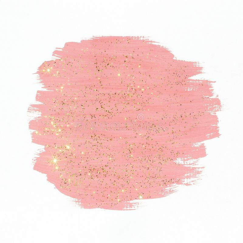 Pink paint with gold glitter royalty free stock photography