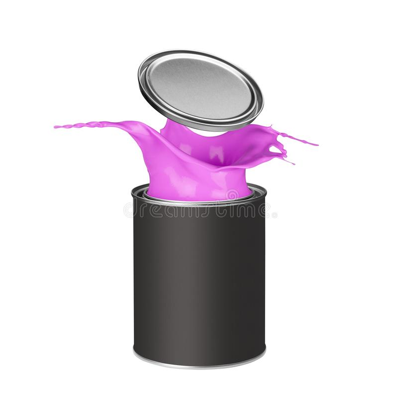 Pink paint splashing out of paint can stock images