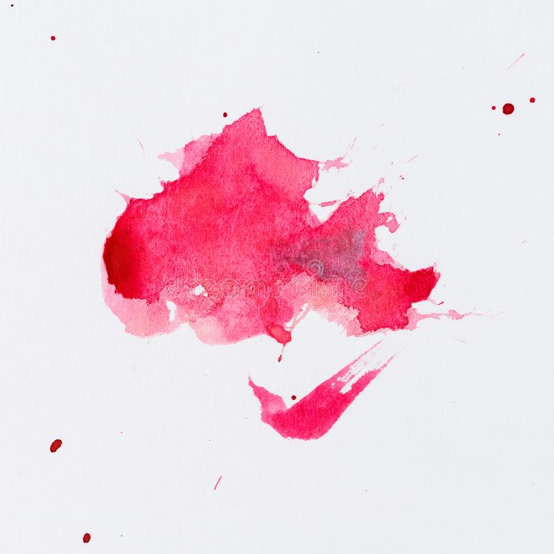 Pink paint splatter. Paint splash on white background. Watercolor texture, effect template royalty free stock image