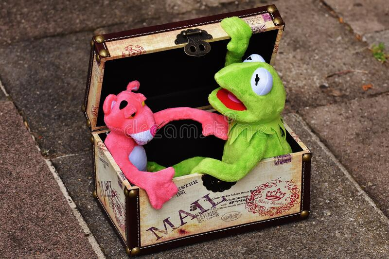 Pink Panther and Kermit the Frog royalty free stock photo
