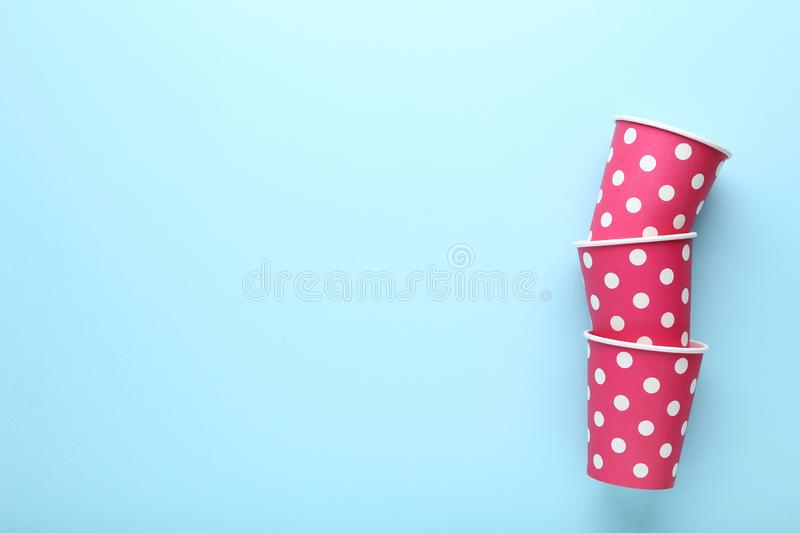 Pink paper cups stock images