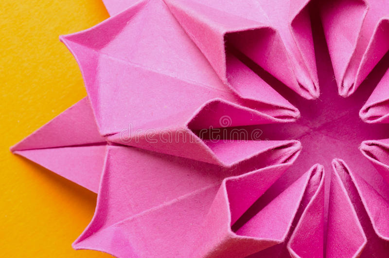 Pink paper dahlia flower stock image