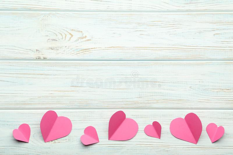 Pink paper hearts royalty free stock image