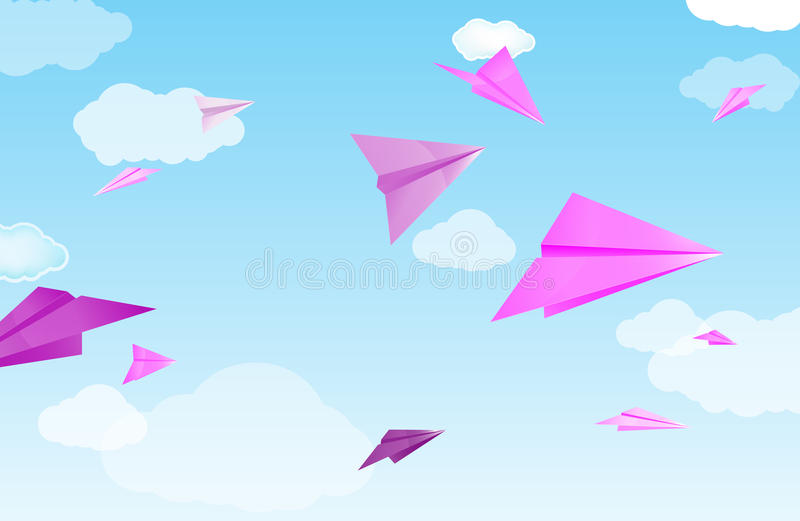 Download Pink paper planes stock vector. Image of fold, design - 20665016