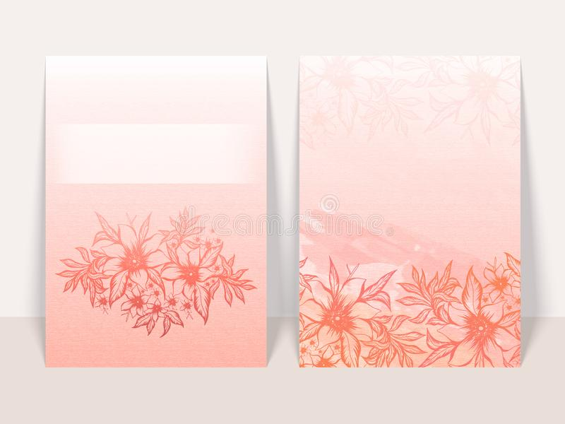 Pink Paper Texture Background with Sketching Flowers and Leaves 皇族释放例证