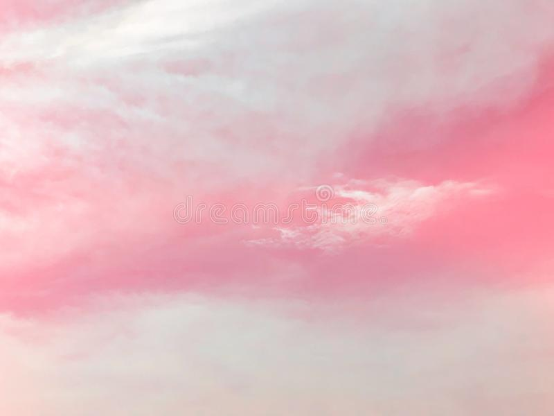 Pink pastel sky and clouds background royalty free stock photo