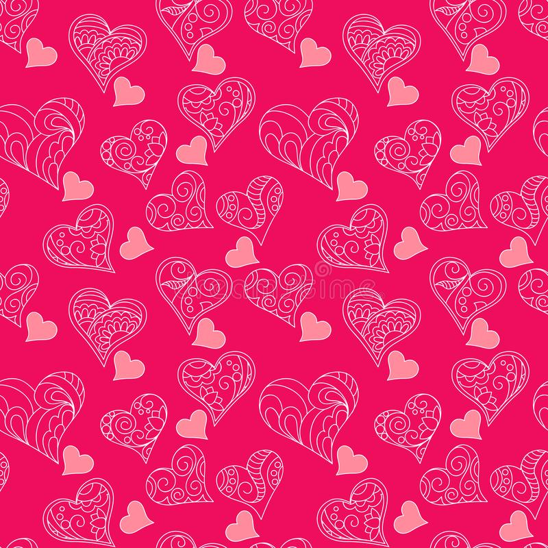 Pink pattern of hearts. Festive pink background with hand drawn ornamental hearts. Seamless pattern. eps 10 royalty free illustration