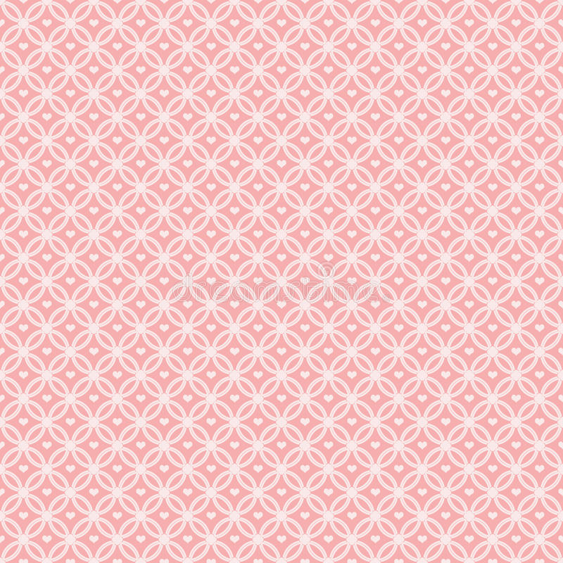 Pink Pattern Interlocking Circles with hearts stock illustration