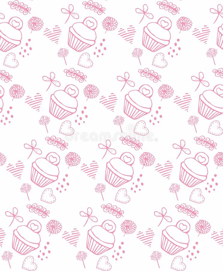 Pink pattern kuki and flowers cakes. Illustration royalty free illustration