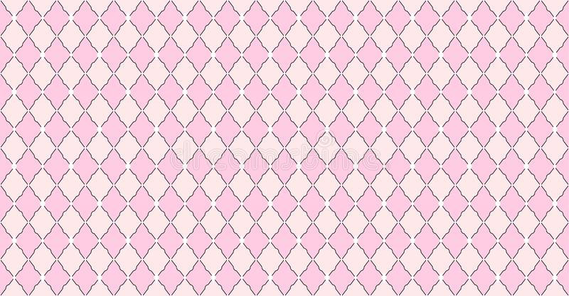 Pink pattern with rhombuses and white dots stars. Solid elegante wedding backdrop. Element of design for Lol Surprise party. Arabic girlish ornate. Premium stock illustration