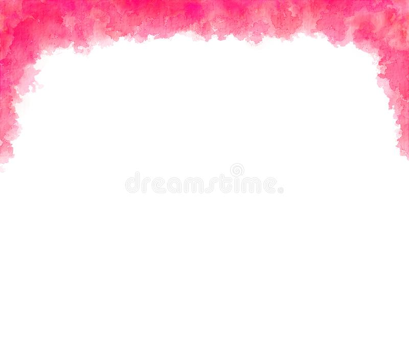 Pink Peach Top Border Abstract Watercolor. Pink and peach colors blend in an abstract watercolor border over the top of the page stock illustration
