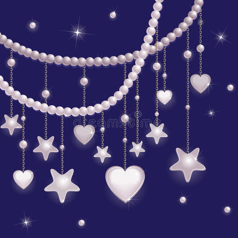 Pink pearl stars and hearts stock illustration