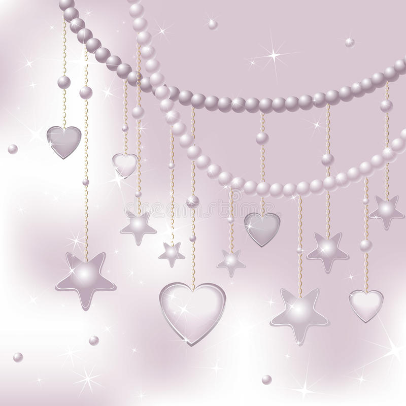Pink pearls, stars and hearts on a light backgroun. D. Vector stock illustration