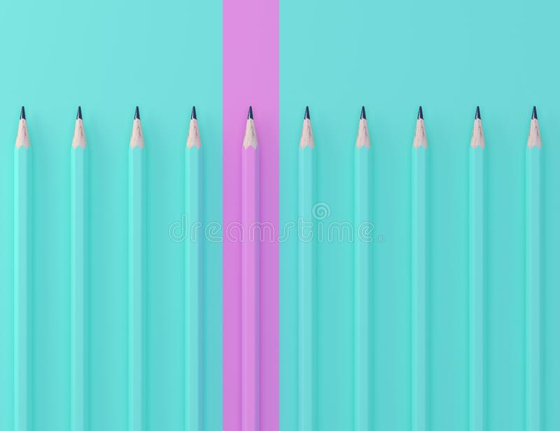 Pink pencil and blue pencil on blue pastel background. minimal creative concept. The idea about the business leadership, think dif royalty free stock photography
