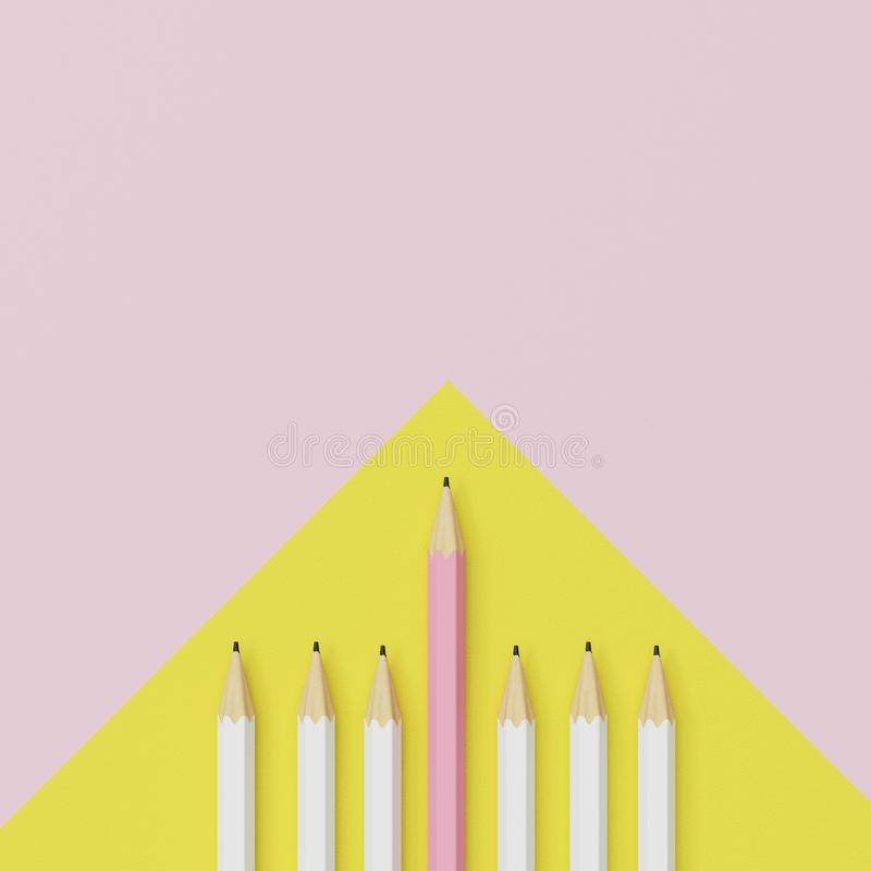 Pink pencil and white pencil on yellow and pink background. royalty free stock photo