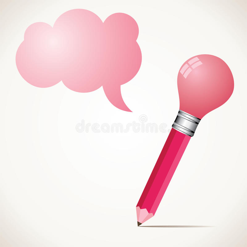 Free Pink Pencil Wit Bulb And Message Bubble Stock Photos - 27724733