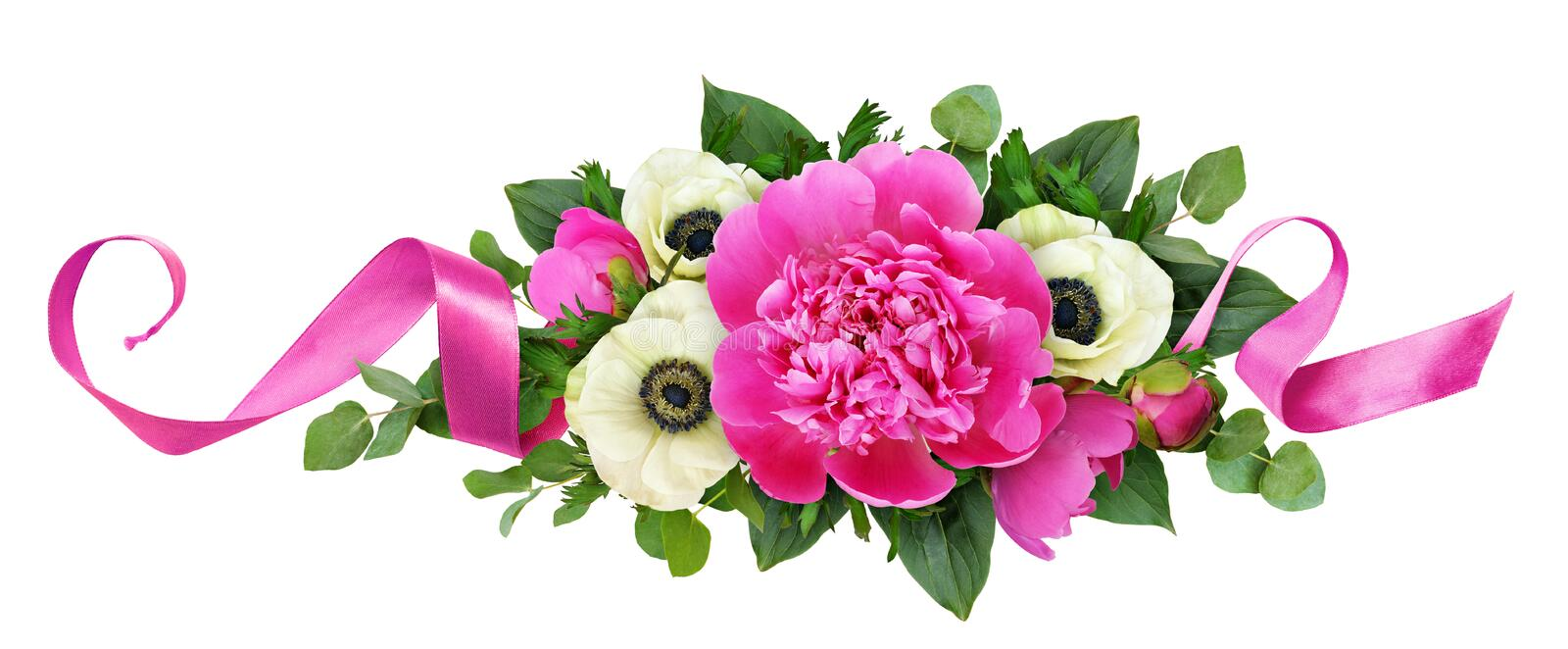 Pink peonies and anemone flowers in floral arrangement. Isolated on white background. Flat lay. Top view stock image