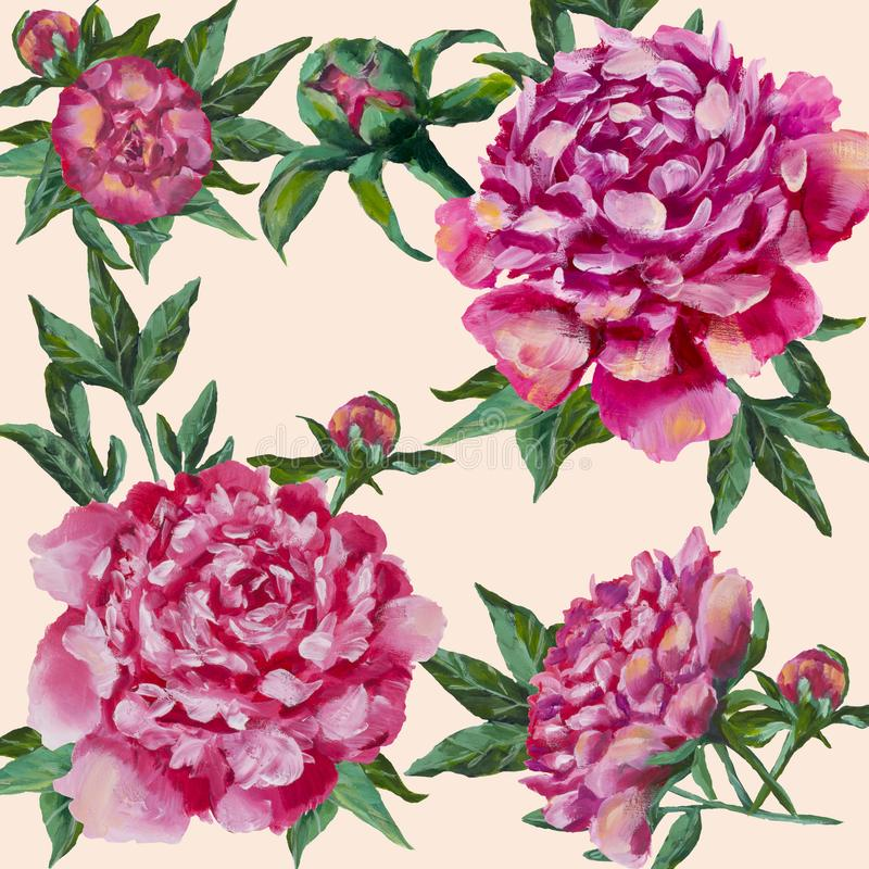 Pink peonies hand painted. Peony with buds and leaves, watercolor vector illustration