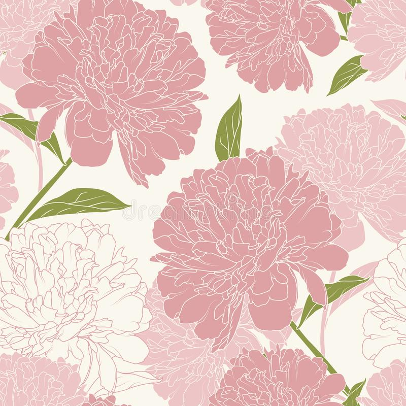 Pink peony rose flowers elegant beautiful vector floral spring summer seamless pattern texture background. stock illustration
