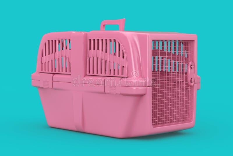 Pink Pet Travel Plastic Cage Carrier Box Mock Up Duotone. 3d Rendering. Pink Pet Travel Plastic Cage Carrier Box Mock Up Duotone on a blue background. 3d royalty free illustration